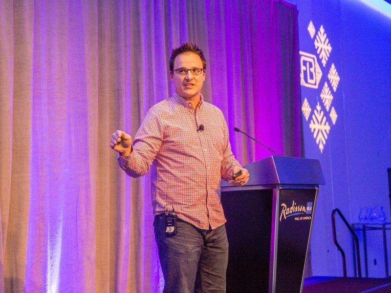 Aaron Hautala speaks at QBP's Frostbike event.